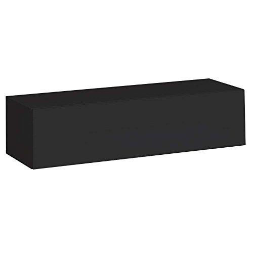 JUSThome SWITCH I Lowboard TV-Board Fernsehtisch (HxBxT): 30x120x40 cm Schwarz Matt / Schwarz Hochglanz