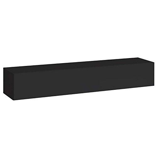 JUSThome SWITCH I Lowboard TV-Board Fernsehtisch (HxBxT): 30x180x40 cm Schwarz Matt / Schwarz Hochglanz