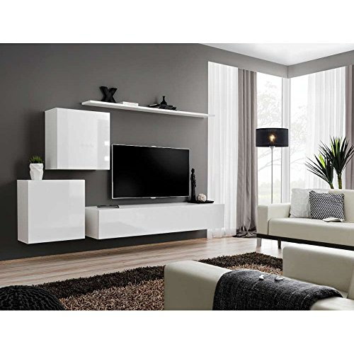 justhome switch v wohnwand anbauwand schrankwand hxbxt 150x250x40 cm wei matt wei. Black Bedroom Furniture Sets. Home Design Ideas