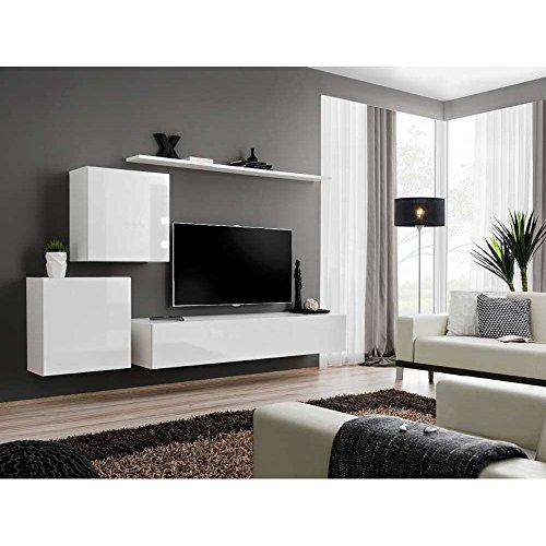 justhome switch v wohnwand anbauwand schrankwand hxbxt 150x250x40 cm wei matt wei. Black Bedroom Furniture Sets. Home Design Ideas