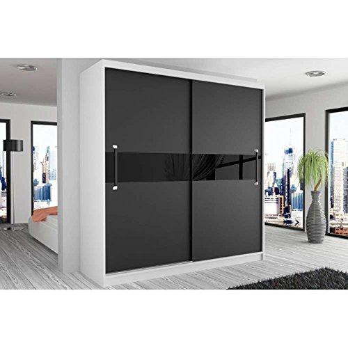 JUSThome Simply II Schwebetürenschrank Kleiderschrank Garderobenschrank 218x133x60 cm Farbe: Schwarz Weiß Matt/Schwarz Hochglanz