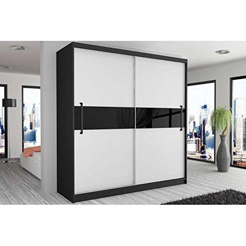 JUSThome Simply III Schwebetürenschrank Kleiderschrank Garderobenschrank 218x133x60 cm Farbe: Schwarz Matt / Weiß Schwarz Hochglanz II
