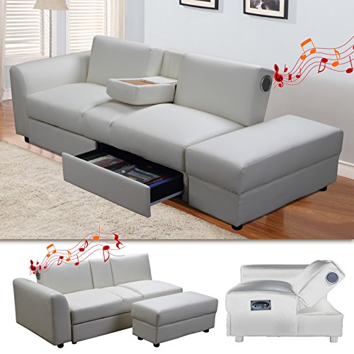kin funktionssofa mit bluetooth weiss schlafsofa sofa bettsofa couch m bel24. Black Bedroom Furniture Sets. Home Design Ideas