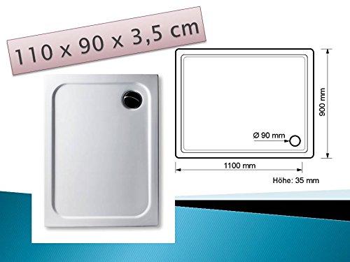 KOMPLETT-PAKET: Duschwanne 110 x 90 cm superflach weiß Acryl + Styroporträger / Wannenträger + Ablaufgarnitur chrom DN 90