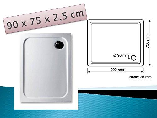 KOMPLETT-PAKET: Duschwanne 90 x 75 cm superflach weiß Acryl + Styroporträger / Wannenträger + Ablaufgarnitur chrom DN 90