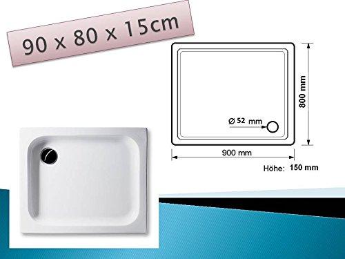 KOMPLETT-PAKET: Duschwanne 90 x 80 cm 15cm tief, weiß Acryl + Styroporträger / Wannenträger + Ablaufgarnitur chrom DN 52