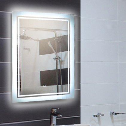 KROLLMANN Badspiegel LED Lichtspiegel 50x70 cm für Badezimmer und Wohnräume mit Touch-Sensor und integrierter Beleuchtung