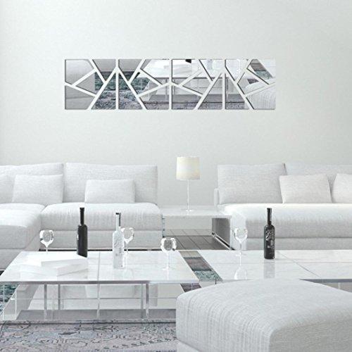 Kingko® 4Pcs 3D Removable DIY Acryl glatten Spiegel Wandaufkleber Home Decor (Weiß)