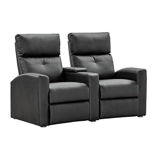 Kinosessel 2 Sitzer Fernsehsessel Relaxsessel TV-Sessel mit Relaxfunktion Kunstleder schwarz