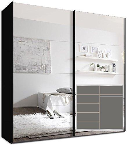 Kleiderschrank Schwebetürenschrank, 225 x 220 x69 cm inkl. 5 Einlegeböden Schwarz Spiegel