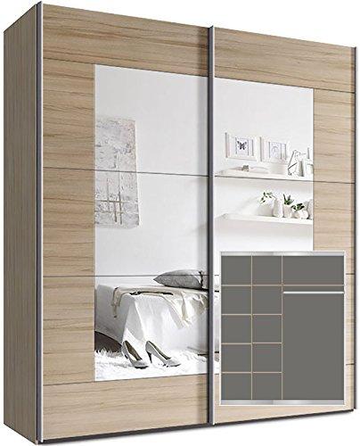 Kleiderschrank Schwebetürenschrank, ca. 180cm, inkl. 9 Einlegeböden Buche Spiegel