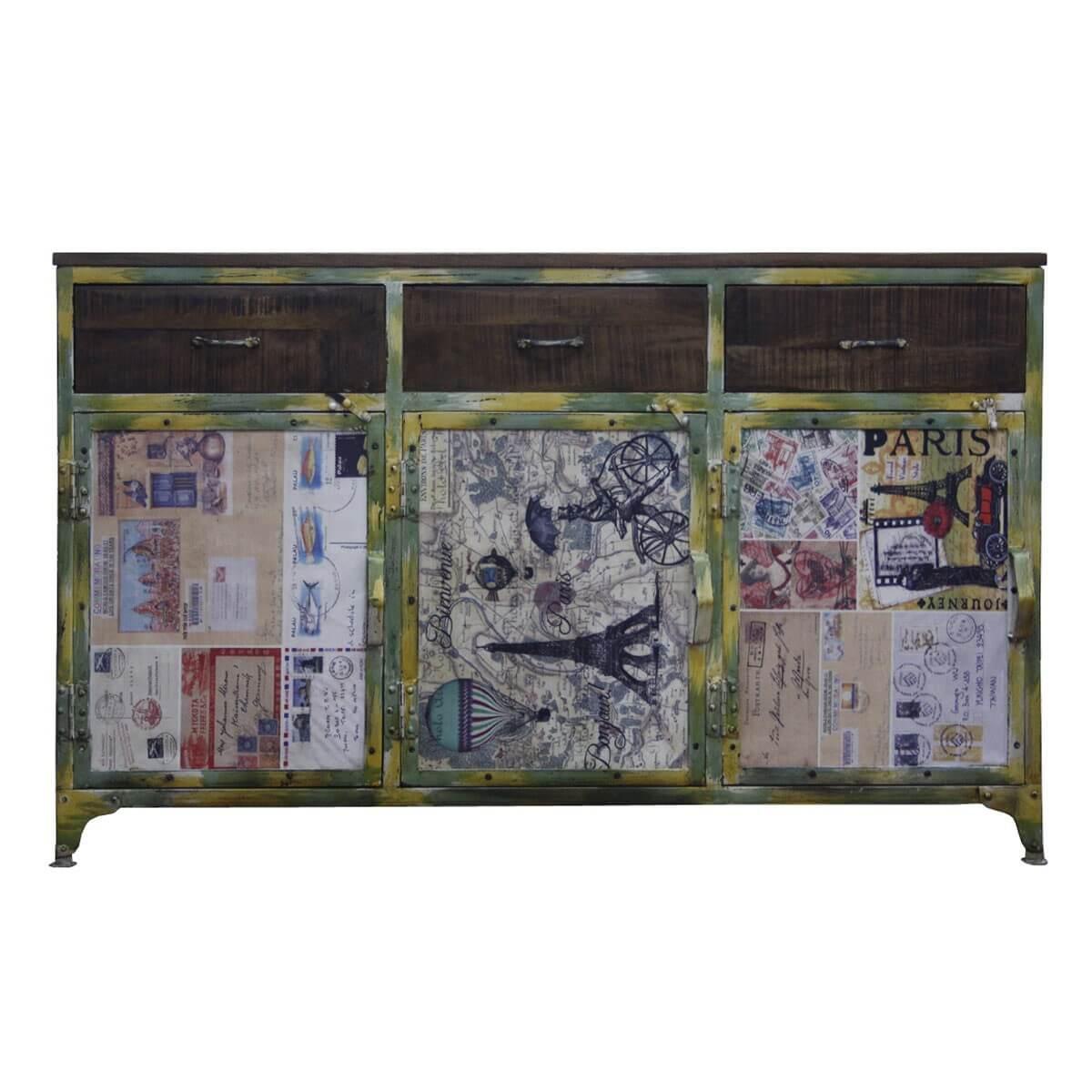 Sideboard aus metall und massivholz bunt m bel24 for Moebel24 shop
