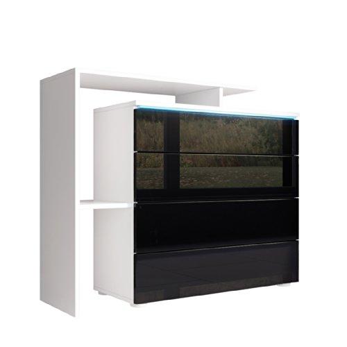 kommode sideboard lissabon v2 korpus in wei matt front in schwarz hochglanz m bel24. Black Bedroom Furniture Sets. Home Design Ideas
