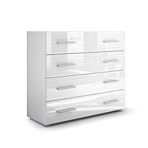 Kommode Sideboard Pavos in Weiß / Weiß Silverline Hochglanz