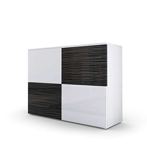 kommode sideboard rova korpus in wei matt front in wei hochglanz und schwarz silverline. Black Bedroom Furniture Sets. Home Design Ideas