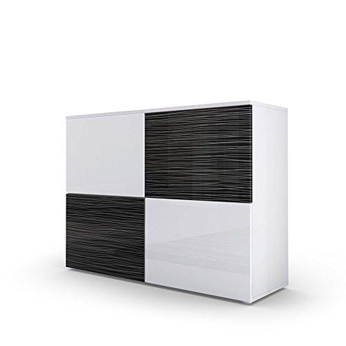 Kommode Sideboard Rova, Korpus in Weiß matt / Front in Weiß Hochglanz und Schwarz Silverline Hochglanz