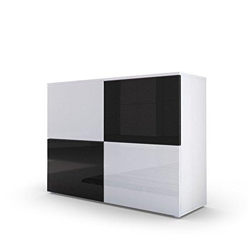 Kommode Sideboard Rova, Korpus in Weiß matt / Türen in Weiß Hochglanz und Schwarz Hochglanz