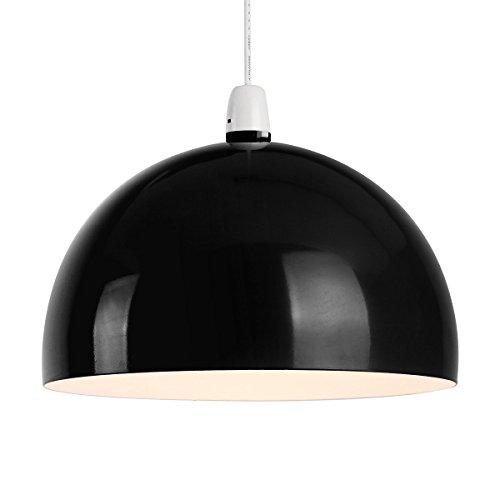 Kuppelförmiger und glänzender Lampenschirm aus schwarzem und cremefarbigem Metall - für Hänge- und Pendelleuchte