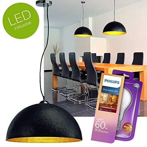 LED Deckenleuchte | runde Pendelleuchte | schwarz/gold, Ø 50cm | inkl. E27 PHILIPS LED Leuchtmittel 8,5 W, dimmbar, warmweiss wamglow