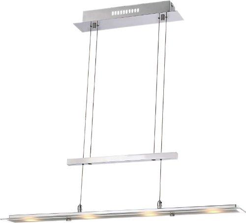 LED Pendelleuchte aus Glas für Esszimmer höhenverstellbar (Pendellampe, Wohnzimmer, Küche, Hängeleuchte, Hängelampe Esstisch, Höhe 165 x Breite 80 cm, inkl. Leuchtmittel 1 x 5 Watt, warmweiß, EEK A)