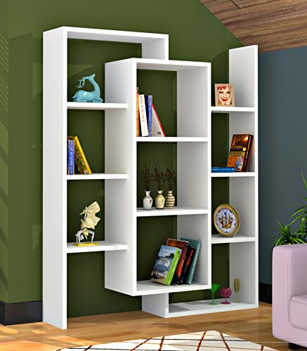 LUCE Bücherregal - Weiß / Nussbaum - Büroregal - Standregal für Wohnzimmer in modernem Design