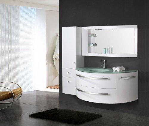 """LUXUS4HOME Design Badmöbel Set """"Côte d'Azur"""" Weiß Hochglanz Waschtisch 120 cm inkl. Armatur und Spiegel Seitenschrank Badezimmermöbel Set mit Glas Waschbecken"""
