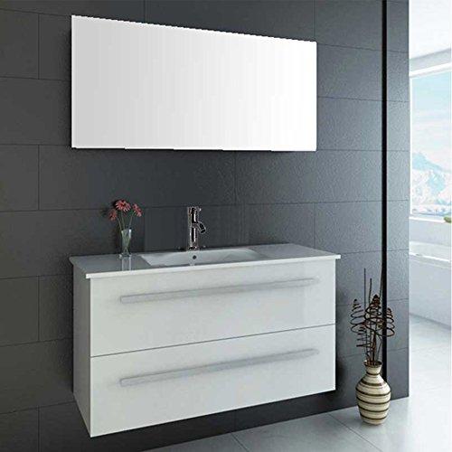 """LUXUS4HOME Design Badmöbel Set """"Serpia Single"""" Weiß Hochglanz Waschtisch 90cm inkl. Armatur und Spiegel Badezimmermöbel Set mit Keramik Waschbecken"""