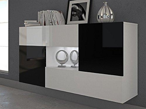 Labi Möbel ALFA Kommode Sideboard Anrichte Korpus:Weiß Matt Schublade:Weiß Hochglanz Türen:Schwarz Hochglanz