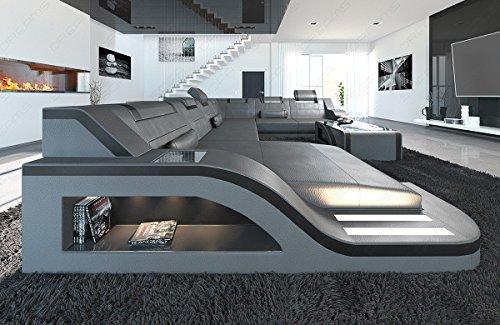 Leder Wohnlandschaft PALERMO XL grau-schwarz