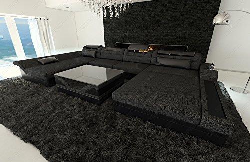 Leder/Stoff Wohnlandschaft MONZA U-Form mit LED schwarzgrau-schwarz