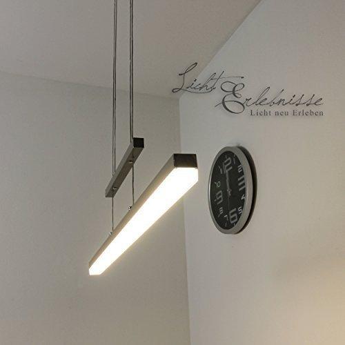 Leuchtstarke LED Pendelleuchte 30 Watt 2000 Lumen warmweiß Hängeleuchte ist höhenverstellbar, mit Touchdimmer, in Nickel matt Beleuchtung Hängelampe für Esszimmer Küche Büro Tisch