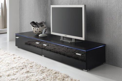 Lowboard TV Schrank TV-Element 180 cm schwarz Fronten Hochglanz, optional LED-Beleuchtung, Beleuchtung:Mit Beleuchtung - Blau