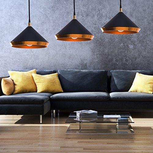 Ludina - Moderne Hängeleuchte in gold schwarz | Eine Deckenlampe für Küche, Wohnzimmer, Esszimmer, Schlafzimmer oder Lounge | dimmbar | LED geeignet |1x E27 Fassung