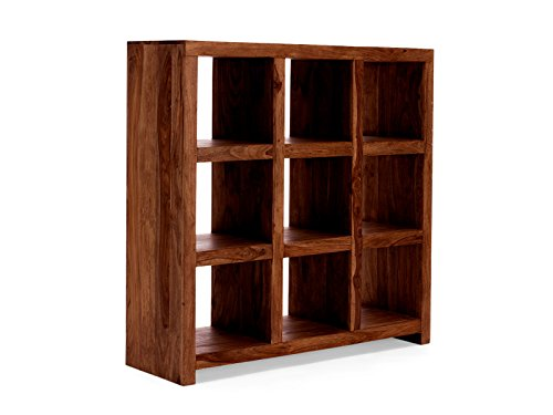 Massivum 10015238 Bücherregal Palison 9 Fächer aus Palisander Holz, honig, 42 x 130 x 138 cm