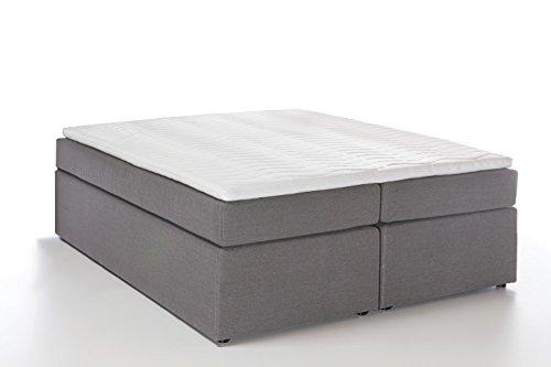 Möbelfreude® Boxspringbett Bella Hellgrau 140x200cm H3 inkl. Visco-Topper, 7-Zonen Taschenfederkern-Matratze, amerikanisches premium Bett Luxus Hotelbett Polsterbett Doppelbett King-Size