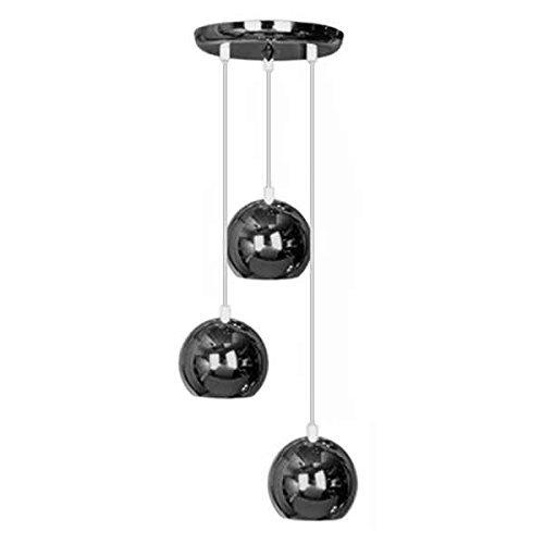 Moderne Deckenleuchte/Pendelleuchte mit 3 hängenden und kuppelförmigen Lampen im Retrostil und schwarzem chrom Finish