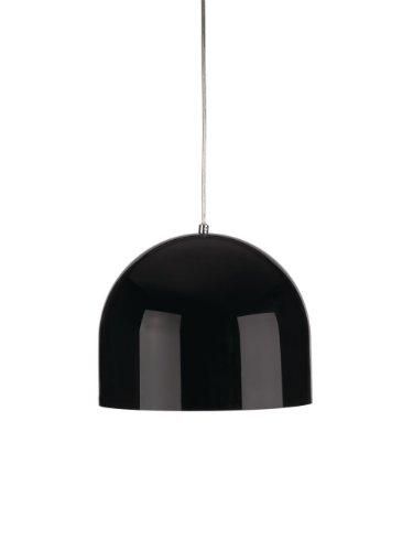 Moderner, schwarzer, kuppelförmiger Lampenschirm aus glänzendem Metall - für Hänge- und Pendelleuchte