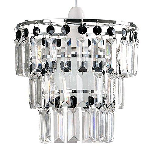 Moderner und verchromter Lampenschirm mit 3 Schichten von transparenten und schwarzen Tröpfchen aus Acryl - für Hänge- und Pendelleuchte
