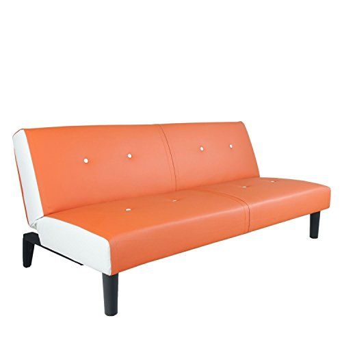 neg design schlafsofa helios orange wei mit napalon leder bezug klappsofa 3 sitzer. Black Bedroom Furniture Sets. Home Design Ideas