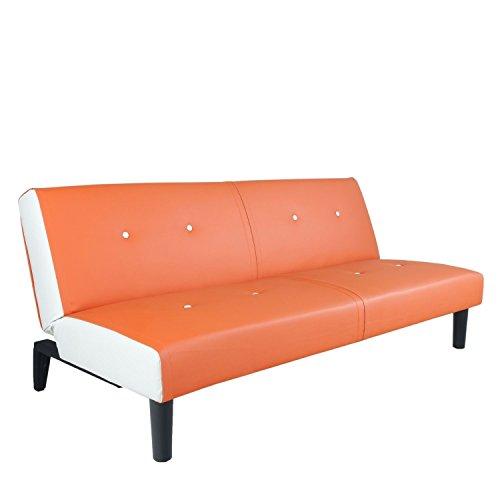 NEG Design Schlafsofa HELIOS (orange/weiß) mit Napalon-Leder-Bezug Klappsofa, 3-Sitzer, Liegefläche 179x108cm, sehr bequem
