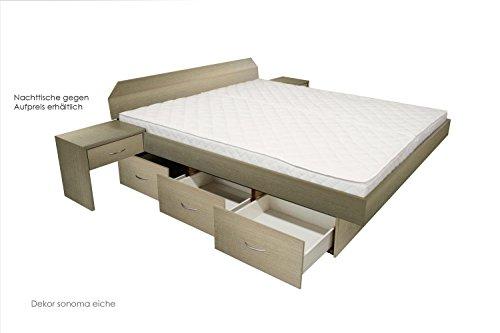 ORIGINAL bellvita Mesamoll II Wasserbett mit Schubladensockel in Komforthöhe, Bettumrandung mit fachgerechtem Aufbau, 200 cm x 200 cm (eiche)