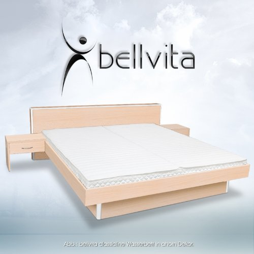 ORIGINAL bellvita Wasserbett inkl. Lieferung und Aufbau durch Fachpersonal inkl. Bettrahmen, Kopfteil und 2 Nachttischen, ahorn, 160 cm x 200 cm