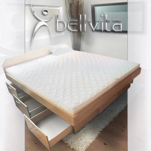 ORIGINAL bellvita Wasserbett mit Schubladensockel in Komforthöhe, Bettumrandung mit Aufbau, ahorn, 140 cm x 200 cm
