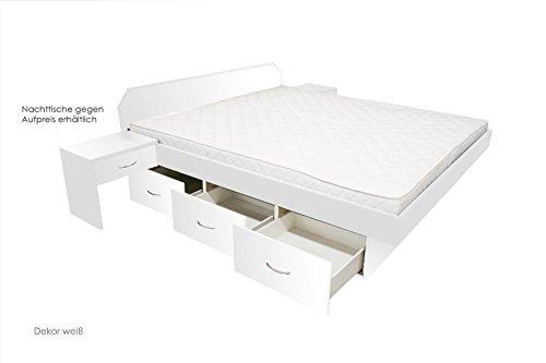ORIGINAL bellvita Wasserbett mit Schubladensockel in Komforthöhe, Bettumrandung mit Aufbau, weiß, 160 cm x 200 cm