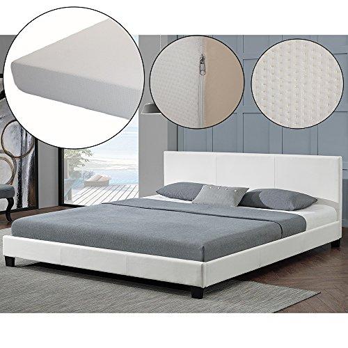 polsterbett barcelona 140 x 200 cm wei mit lattenrost kaltschaummatratze m bel24. Black Bedroom Furniture Sets. Home Design Ideas