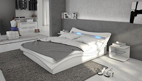 polsterbett turin 160x200 wei inkl led kopflicht lattenrost doppelbett ehebett bett m bel24. Black Bedroom Furniture Sets. Home Design Ideas