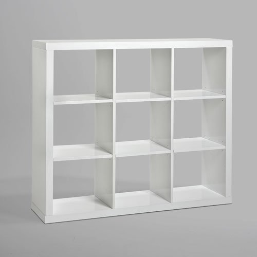 Raumteiler Bücherregal LAYNE, Hochglanz Weiß, 151x135cm