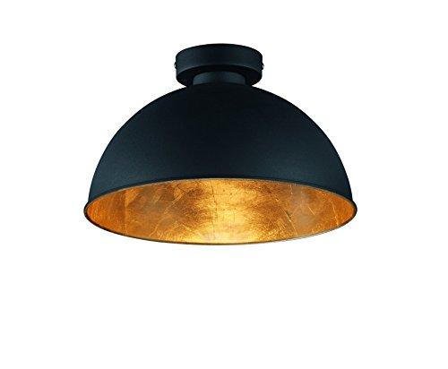 Reality Leuchten Deckenleuchte, 1 x E27 ohne Leuchtmittel, Durchmesser 31 cm, Außen schwarz, Innen gold-farbig, R60121002
