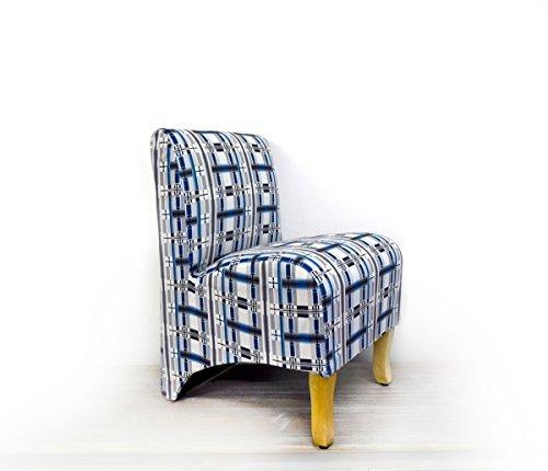 Rebecca Srl Mini-Polstersessel Stoffsessel Relaxsessel blau weiß grau Holzbeinen Stoff Wohnzimmer (Code RE4249).