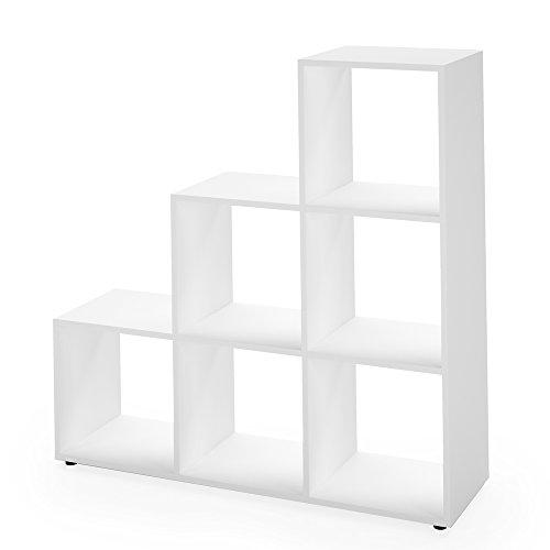 Regal Treppenregal Raumteiler Stufenregal Bücherregal Aktenregal Standregal (Weiß 6 Fächer)